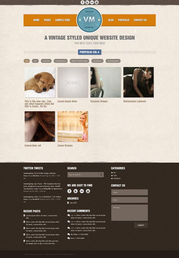VM  4 column Portfolio Page
