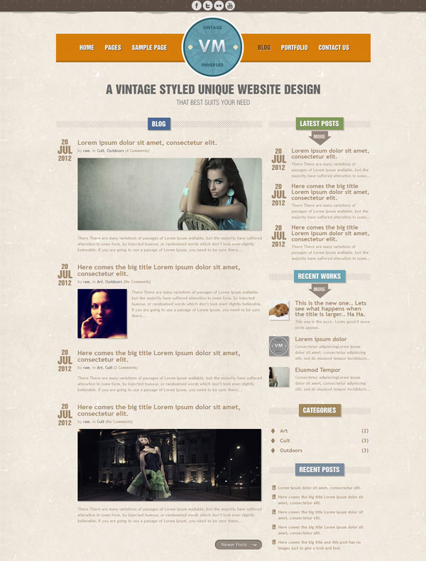 Vintage Immresed Blog List Page